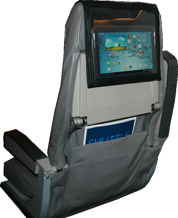 PED Pouch on aircraft seat